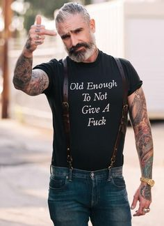 There are many perks that come with age. SIZE & FIT True to Size SHEEHAN & CO. is an online retailer of men's lifestyle products all made in the USA. Extended Sizes available upon request. Longer lead time m Daniel Sheehan, Look Fashion, Mens Fashion, Statement Tees, Older Men, Beard Styles, Bearded Men, Gorgeous Men, Hipsters