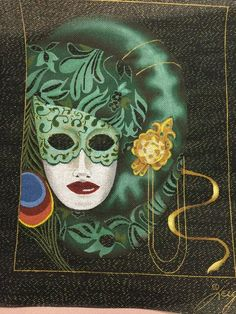 Leigh   Carnival Mask in Greens/Turquoise
