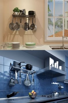 Smart ways to get your kitchen tide and clean and make great use of your space! Wall mounted pan/pot racks are your best choice!