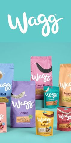 Materials Mixed paper, plastic Strategic brand design agency Robot Food have rebranded Wagg, bringing playful clarity to the pet food aisle Wagg's no frills, locally sourced, pet food was facing stiff competition from supermarket ownlabel The IPN bra Pet Branding, Cookies Branding, Food Branding, Food Packaging Design, Brand Packaging, Packaging Design Inspiration, Logo Inspiration, Personal Branding, Dog Treat Packaging