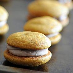 Malted Pumpkin Nutella Filled Whoopie Pies