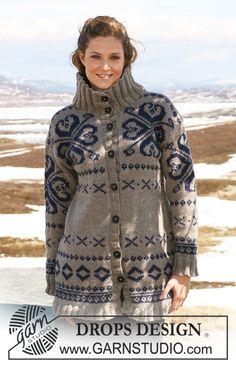 """Strikket DROPS jakke i """"Alaska"""" med norsk mønster. Str S - XXXL ~ DROPS Design"""