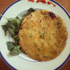 Indian spiced scallion pancake recipe on Indian Food Recipes, Diet Recipes, Healthy Recipes, Ethnic Recipes, Delicious Recipes, Scallion Pancakes, Savory Pancakes, Phyllo Dough, Health Breakfast