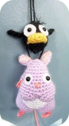 brilliant amigurumi charachters Bou and Yu bird from 'Spirited Away', handmade by the divine Kawaii Crochet