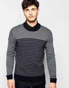 Image 1 of French Connection Contrast Geo Sweater