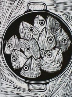 Well isn't this just a kettle of fish . like shooting fish in a barrel. Tutt/Prints Charming - Fish linocut-A FINE KETTLE OF FISH Linocut Prints, Art Prints, Block Prints, Lino Art, Linoprint, Illustrator, Fish Print, Art Graphique, Wood Engraving
