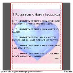 Rules For a Happy Marriage. Humorous.  It is important ....