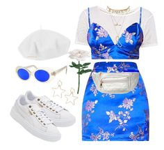 """""""Untitled #389"""" by youraveragestyle ❤ liked on Polyvore featuring Boohoo, Charlotte Russe, Betmar, Pilot, Puma and Yves Saint Laurent"""