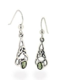 Amazon.com: Sterling Silver Celtic Knot and Genuine Green Meteor Rock (Moldavite) Hook Earrings: Jewelry