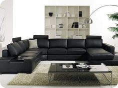 Cozy Black Leather Sofas For Elegant Living Room : Elegant Black Leather Sectional Sofa Design Integrated with Small Coffee Table for Stylish Look Living Room Design Sofa Set Designs, Sofa Design, Living Room Sets, Living Room Designs, Living Room Decor, Living Area, Dining Room, Black Leather Sofas, Leather Sectional