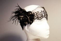 Feather Hair Piece Lace Headband - Flapper Girl Hairband Lace Hat Cap - Black Flower - 20s Inspired on Etsy, $52.00