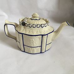 Blue Lined Castleford teapot by CuttingsCurios on Etsy