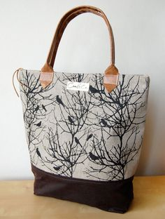 Linen Day bag screen-printed with tree and bird silhouettes