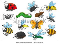 Cartoon bee and bug, butterfly and caterpillar, fly and ladybug, spider and mosquito, wasp and ant, bumblebee, dragonfly and hornet characters. Colorful funny insects for t-shirt print  design