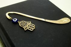 Ethnic Metallic Bookmark  Hand of Fatima  Evil Eye  by Ranawiyet
