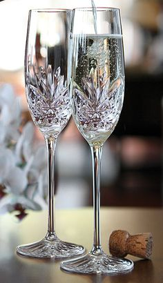 Cashs Shannon Champagne Toasting Flutes from Crystal Classics Wedding Wine Glasses, Wedding Champagne Flutes, Crystal Champagne, Vintage Champagne, Champagne Toast, Crystal Glassware, Waterford Crystal, Wedding Toast Samples, Ideas Party