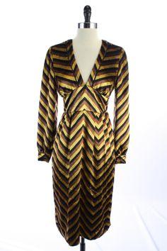 NWT New $698 MARC JACOBS Gold Brown Black CHEVRON Velvet V Neck PARTY DRESS S