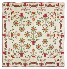 """Pieced and applieque quilt, 19th c., with potted flowers, 76"""" x 76"""", minor sporadic stains, about 12 spi"""