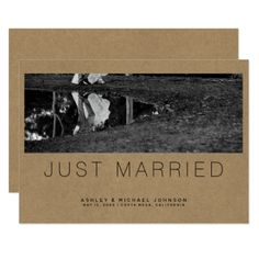 Just Married Simple Photo Wedding Announcement - wedding invitations diy cyo special idea personalize card
