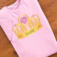 SO CUTE! Princess clothes you can personalize! This crown design is so cute! you can personalize the crown and have it printed on any color T-shirt, baby bib, baby onesie, night gown, youth or toddler sweatshirt and more! Perfect for a princess party or just for fun! #princess #princessparty #crown #personalized