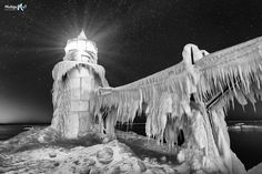 """Frozen Nights""  St Joseph Lighthouse with b&w treatment"