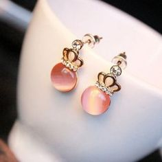 $1.72 Delicate Solid Color Opal and Rhinestone Embellished Crown Shape Earrings For Women