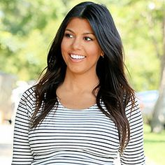 Lining Up: Kourtney Kardashian Stylishly Covers Her Baby Bump In Horizontal Stripes  #InStyle