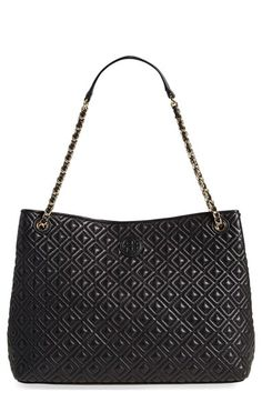 Free shipping and returns on Tory Burch 'Marion' Diamond Quilted Lambskin Leather Tote at Nordstrom.com. Precise diamond quilting highlighted by chain-link-and-leather straps brings uptown polish to this lambskin everyday tote from Tory Burch. With its full-length center zip-divider pocket and deep compartments, you'll have your essentials beautifully organized in a flash. A tonal double-T logo completes the elegant look.