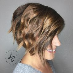 Wavy Layered Side-Parted Bob