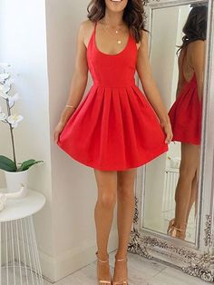 Cute A-line Short Red Homecoming Dress Party Dress with Criss Cross Back