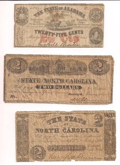 Civil War Confederate Original Money