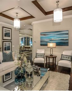 Living room design with turquoise, white and silver hues. Condo Living, My Living Room, Living Room Decor, Living Spaces, Living Area, Luxury Homes Interior, Home Interior Design, Interior Styling, Interior Decorating