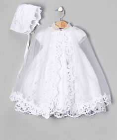 baby girls Christening gown, or baptism gown and bonnet with lace cape. Girls Baptism Dress, Baptism Outfit, Christening Gowns Girls, Baptism Gown, Baby Girl Christening, Baby Girl Dresses, Baptism Clothes, White Girl Outfits, Bebe Love