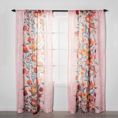 These Opalhouse curtains from go with the pink floral melamine dishes so well. I'm thinking of a bedroom with the pink floral plates over the headboard! Floral Curtains, Drapes Curtains, Curtain Panels, Target Curtains, Colorful Curtains, Drapery Fabric, Light Blocking Curtains, Daisy, Soft Pink Color