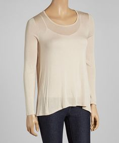 Loving this Taupe Scoop Neck Tee on #zulily! #zulilyfinds