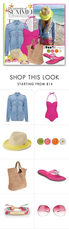 """The Promise of Summer"" by brendariley-1 ❤ liked on Polyvore featuring Frame Denim, George, Roxy, Flora Bella, Aerosoles, Kate Spade, Oliver Peoples, Summer, swimsuit and onepiece"