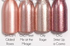 China Glaze Comparison -- China Glaze Meet Me at the Mirage is a rosy/bronze foil metallic. The mix of silver and pinkish bronze metallic flecks makes for a very unique color. It's not as cool as the rose gold toned Orly Rage and warmer than Sally Hansen Gilded Roses. This applies really well, like most foils, and barely needs two coats.