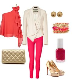 hot pink jeans hot pink skinny jeans bright pink jeggings cream blazer coral off the shoulder top gold clutch gold heels chanel gold earings coral and gold arm candy what to wear women's trendy denim fashion party outfits what to wear with bright denim how to wear bright jeans prettyplease us blog