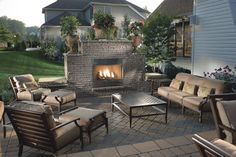 Techo-Bloc Stone Patio (stones sold at Camosse Masonry) Outdoor Decor, Backyard Design, Outdoor Kitchen Design Layout, Patio Design, Relaxing Patio, Patio Flooring, Outdoor Design, Outdoor Fireplace Patio