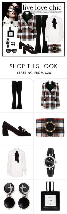"""""""Racil Oxford Tartan-Checked Blazer Look"""" by romaboots-1 ❤ liked on Polyvore featuring Frame, Racil, Miu Miu, Claudie Pierlot, Gucci, NOVICA and Italia Independent"""