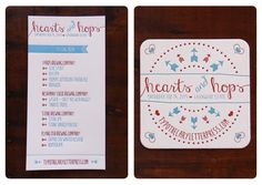 Hearts & Hops Letterpress Beer Tasting Menu and Coaster by Typothecary Letterpress