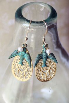 Soar gold filigree, verdegris bird and faux pearl earrings from Girls Day Out - Addddooorable