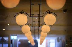 Bespoke globe lights. Bouillabaisse, Mayfair. Seafood Restaurant