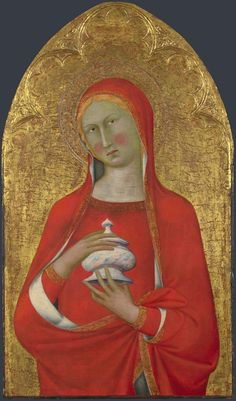 """MASTER of the PALAZZO VENEZIA MADONNA , active mid-14th century """"Saint Mary Magdalene""""  Date: about 1350 (?) Medium: Egg tempera on wood Dimensions: 60.1 x 34.5 cm This and the related panel of 'Saint Peter' by an unidentified Sienese painter are from the right side of a polyptych.   Mary Magdalene holds a pot of ointment with which she anointed Christ's feet. Saint Peter's keys are of gold and silver leaf. The National Gallery"""