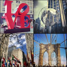 New York Sights - http://kerri-farley.artistwebsites.com/featured/new-york-sights-kerri-farley.html - Love Sculpture, Globe at Columbus Circle, Flags at Rockefeller Plaza, Brooklyn Bridge,