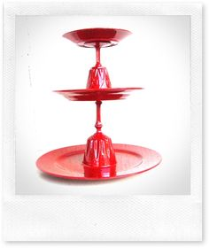 TUTORIAL: CHERRY RED CAKE STAND (using sherry glasses & varying sized plates)