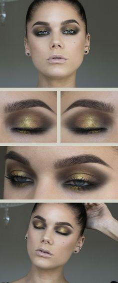 Eyeshadow, eyes, gold, green, smoky #goldeyeshadows
