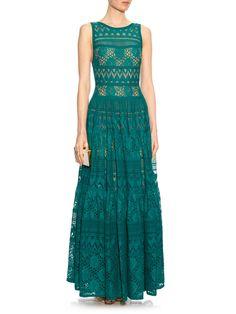 Lace panelled cotton-blend gown | Elie Saab | MATCHESFASHION.COM