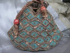 Turquoise Beaded Handbag /Gift Pouch/ Favor Bag by GraphikMania, $15.00