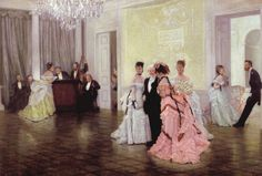 'Too Early' by James Tissot (1873). The painting depicts guests interacting before a ball with hints of flirting and gossiping. Dances such as these were pivotal social events where a lady would hope to meet an eligible gentleman.